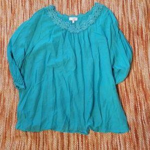 Fashion bug 3x cold shoulder lace trim tunic shirt